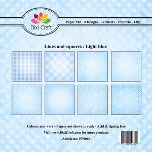 DIXICRAFT 6X6 PAPER PAD LINES AND SQUARES LIGHT BLUE