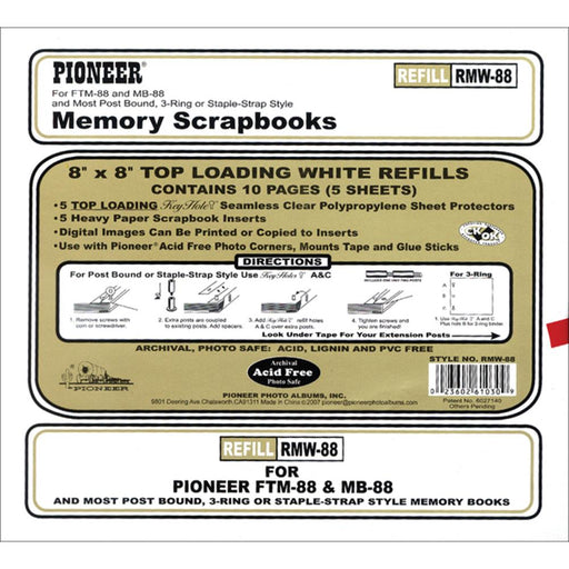 PIONEER 8X8 SCRAPBOOK REFILLS WHITE PAGES PK 10