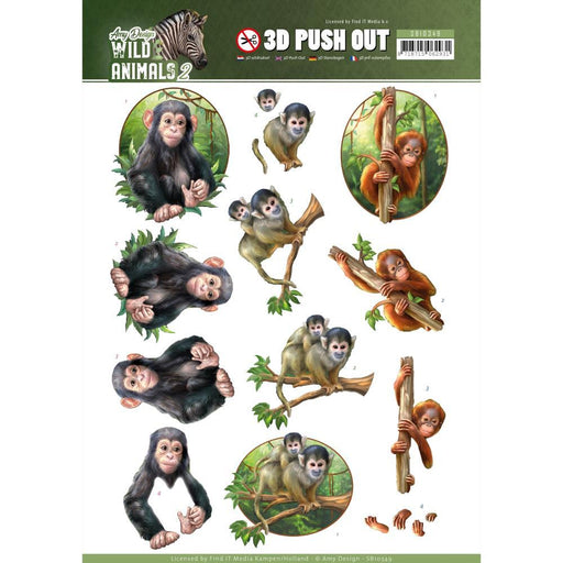 AMY DESIGN  3D PUSH OUTS WILD ANIMALS 2 MONKEY