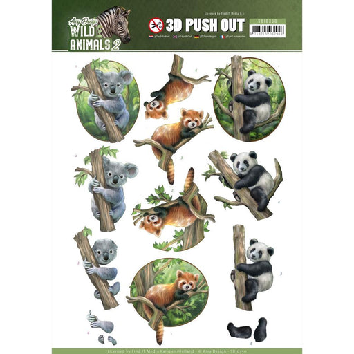 AMY DESIGN  3D PUSH OUTS WILD ANIMALS 2 BEARS