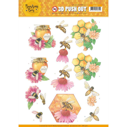 JEANINES ART  3D PUSH OUT  BUZZING BEE HONEY BEE