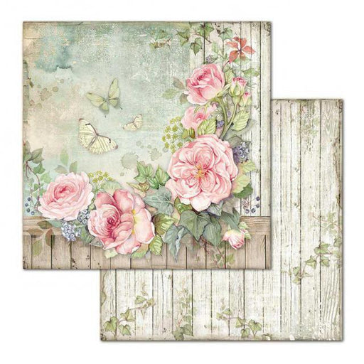 STAMPERIA 12X12 PAPER DOUBLE FACE FENCE WITH ROSES