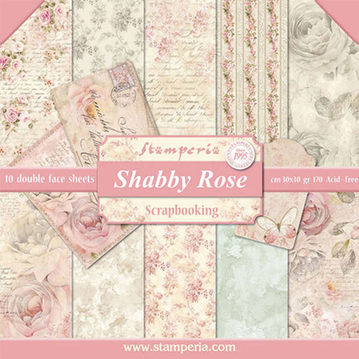 STAMPERIA 12X12 PAPER PACK SHABBY ROSE