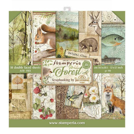 STAMPERIA 12X12 PAPER PACK  DOUBLE FACE FOREST.