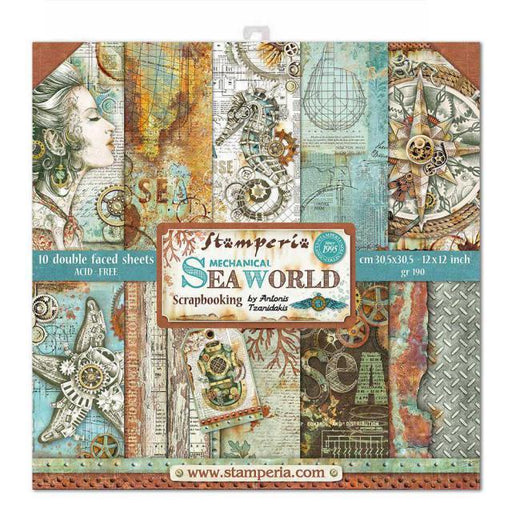 STAMPERIA 12X12 PAPER PACK  DOUBLE FACE SEA WORLD.
