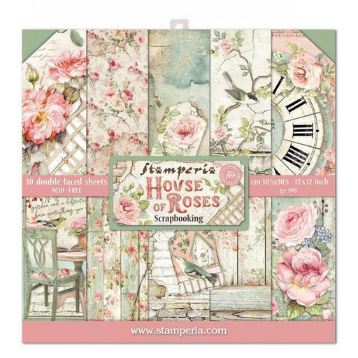 STAMPERIA 12X12 PAPER PACK  DOUBLE FACE HOUSE OF ROSES.