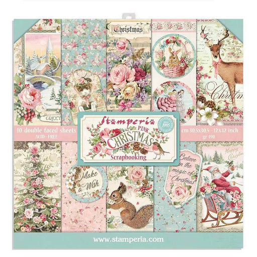 STAMPERIA 12X12 PAPER PACK  DOUBLE FACE   PINK CHRISTMAS