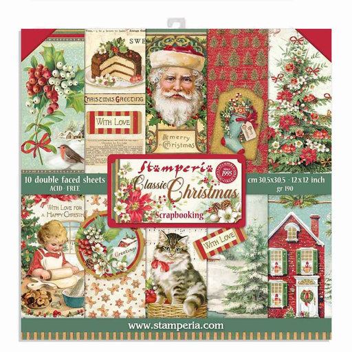 STAMPERIA 12X12 PAPER PACK  DOUBLE FACE CLASSIC CHRISTMAS