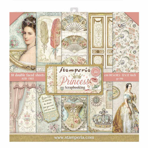 STAMPERIA 12X12 PAPER PACK  DOUBLE FACE   PRINCESS