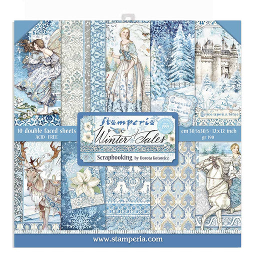 STAMPERIA 12X12 PAPER PACK  DOUBLE FACE  WINTER TALES