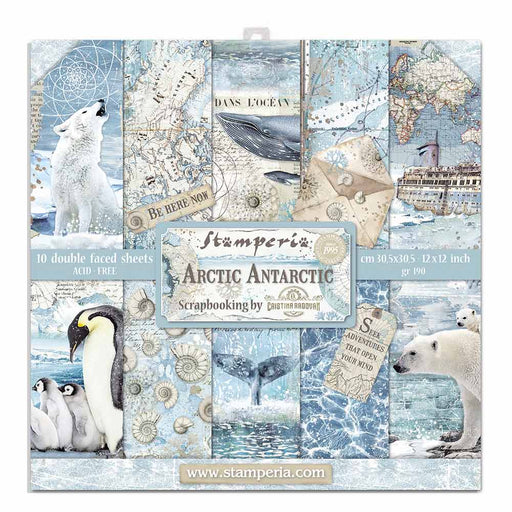 STAMPERIA 12X12 PAPER PACK  DOUBLE FACE  ARCTIC ANTARCTIC