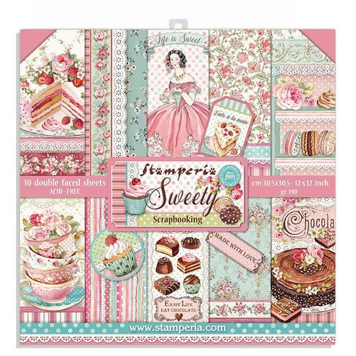 STAMPERIA 12X12 PAPER PACK  DOUBLE FACE  SWEETY