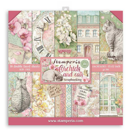 STAMPERIA 12X12 PAPER PACK ORCHIDS AND CATS