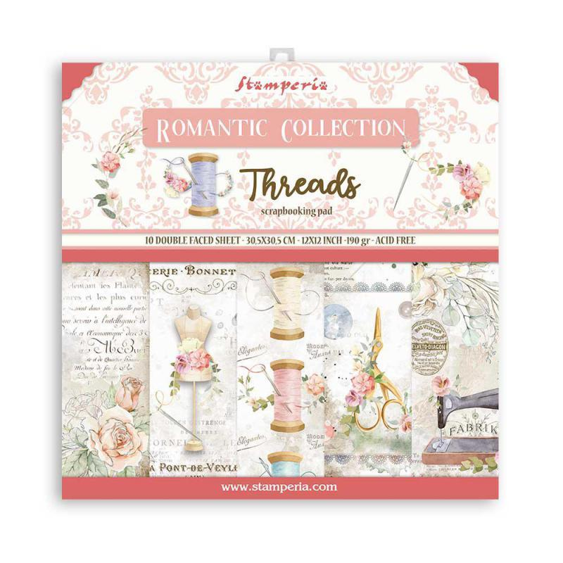 STAMPERIA 12X12 PAPER PACK  ROMANTIC THREADS