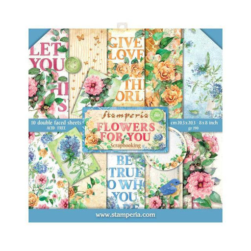 STAMPERIA 8 X 8 PAPER PACK FLOWERS FOR YOU