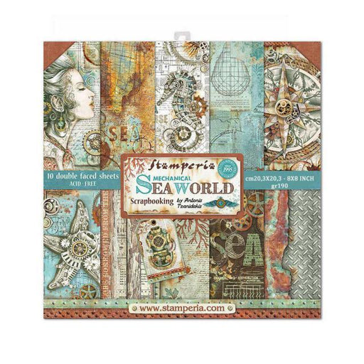 STAMPERIA 8 X 8 PAPER PACK SEA WORLD