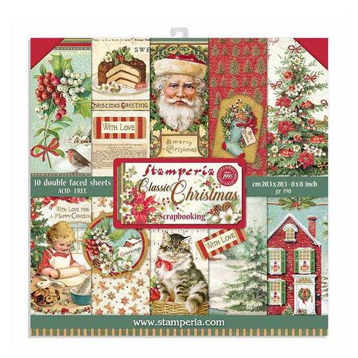 STAMPERIA 8 X 8 PAPER PACK  CLASSIC CHRISTMAS