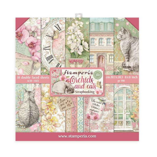 STAMPERIA 8 X 8 PAPER PACK  ORCHIDS AND CATS