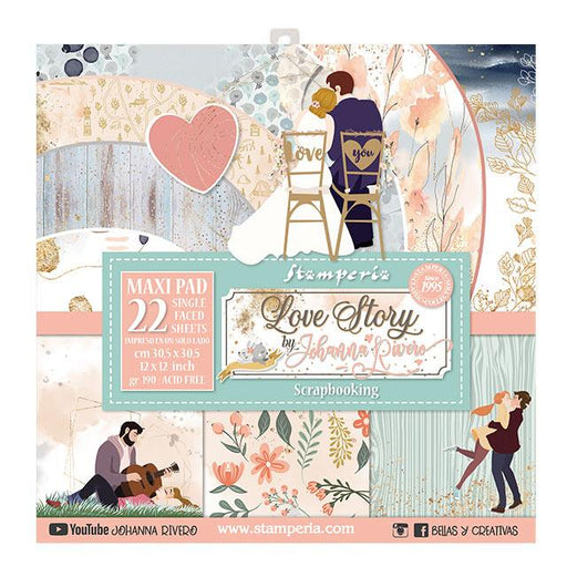 STAMPERIA 12X12 PAPER PACK LARGE LOVE STORY