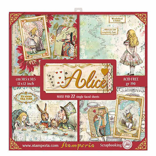 STAMPERIA 12X12 PAPER PACK  LARGE ALICE GOLD