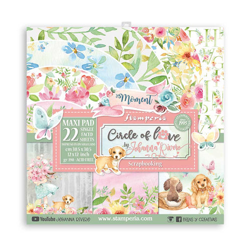 STAMPERIA 12X12 PAPER PACK LARGE  CIRCLE OF LOVE