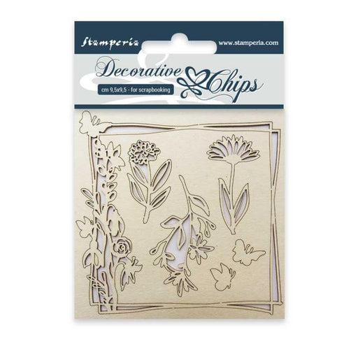 STAMPERIA DECORATIVE CHIPS 9.5X9.5 CM FLOWERS AND BUTTERFLY