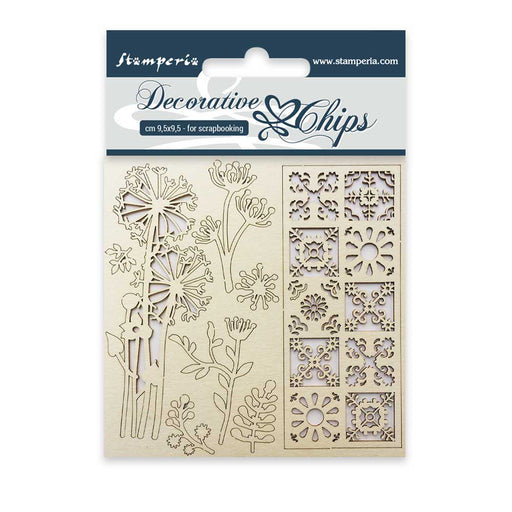 STAMPERIA DECORATIVE CHIPS 9.5X9.5 CM FLOWERS AND TALE