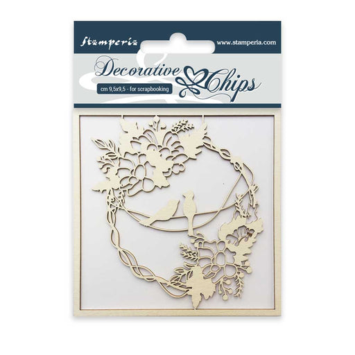 STAMPERIA DECORATIVE CHIPS 9.5X9.5 CM GARLAND AND BIRDS
