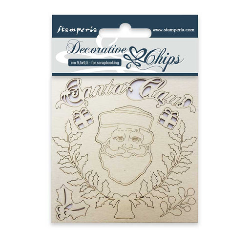 STAMPERIA DECORATIVE CHIPS 9.5X9.5 CM SANTA CLAUS