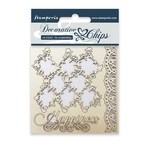 STAMPERIA DECORATIVE CHIPS 9.5X9.5 CM LACE AND BORDER