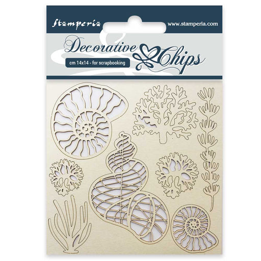 STAMPERIA DECORATIVE CHIPS 14 X 14CM SHELLS