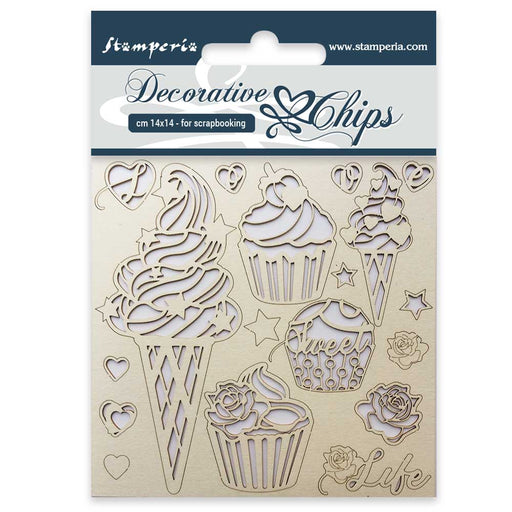 STAMPERIA DECORATIVE CHIPS 14 X 14CM   CM   ICE CREAM