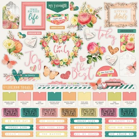 SIMPLE STORIES VINTAGE GARDEN DISTRICT 12X12 STICKERS  COMBO