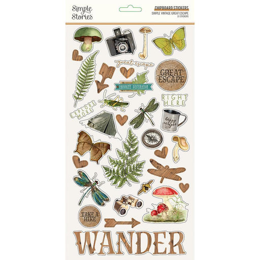 SIMPLE STORIES VINTAGE GREAT CHIPBOARD STICKERS