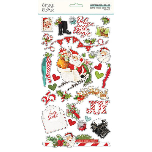 SIMPLE STORIES VINTAGE NORTH POLE CHIPBOARD STICKERS