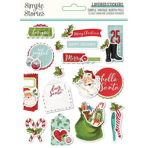 SIMPLE STORIES VINTAGE NORTH POLE LAYERED STICKERS