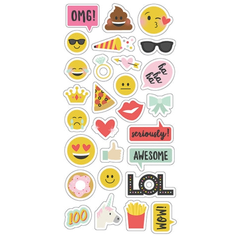 SIMPLE STORIES CARPE DIEME CHIPBOARD STICKERS EMOJI LOVE
