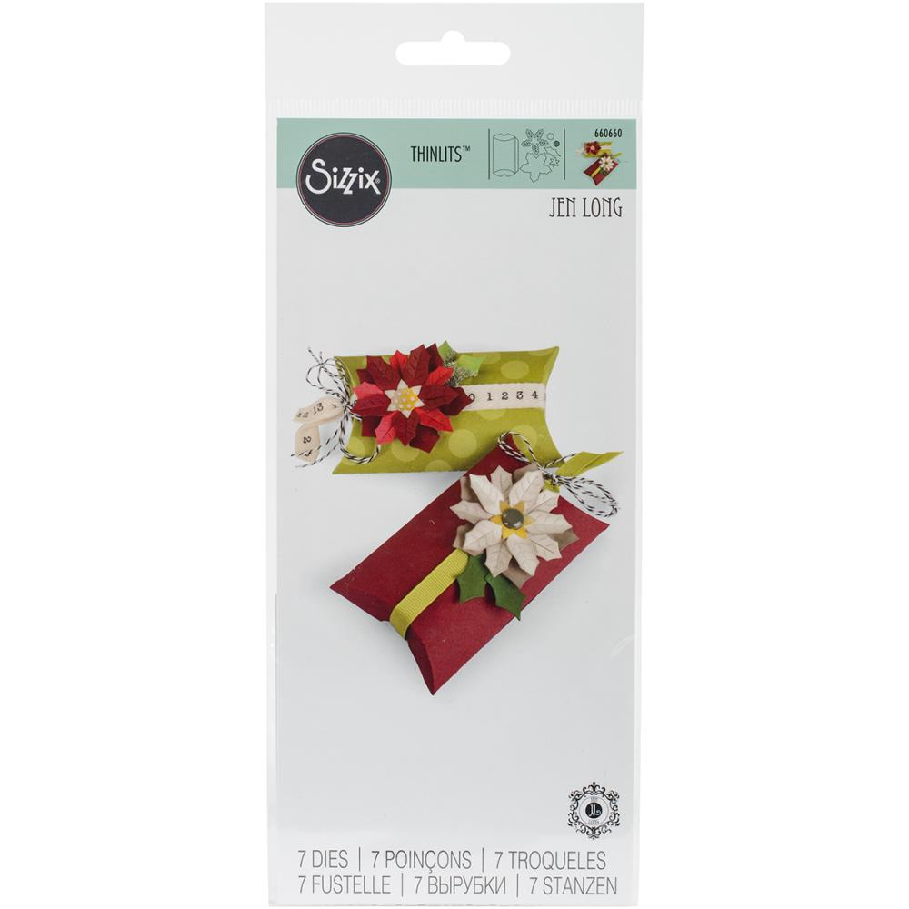 SIZZIX DIE THINLITS  JEN LONG BOX PILLOW POINSETTIAS