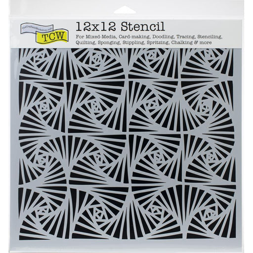 TCW   DESIGNER 12 X 12  STENCIL  FANTANGLE