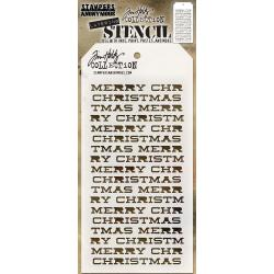 TIM HOLTZ COLLECTION LAYERING STENCIL MERRY CHRISTMAS