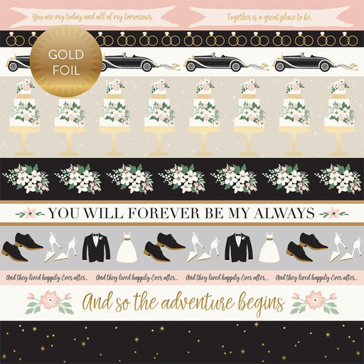 ECHO PARK 12X12 PAPER WEDDING BORDER STRIPS   GOLD FOILED