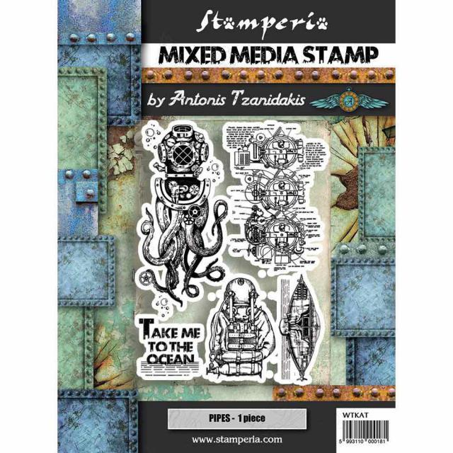STAMPERIA  RUBBER STAMP 15CM X 20CM  SEA WORLD OCTOPUS