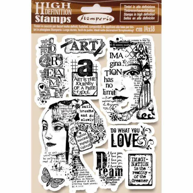 STAMPERIA  RUBBER STAMP 14CM X 18CM ART IS THE JOURNEY