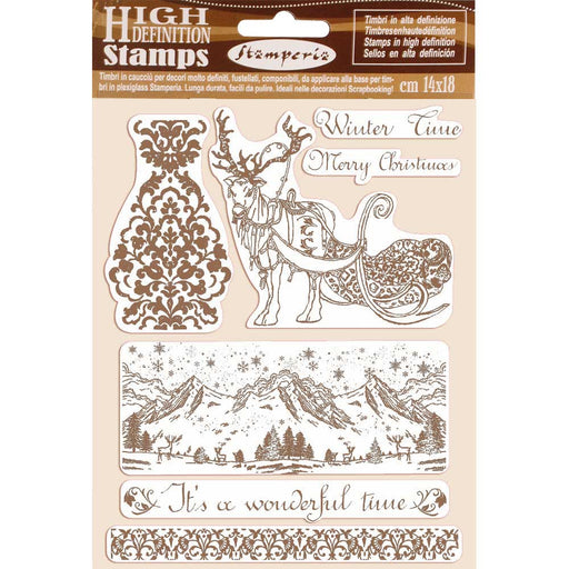 STAMPERIA  RUBBER STAMP 14CM X 18CM  WINTER TIME