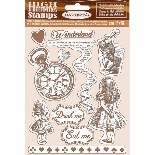 STAMPERIA  RUBBER STAMP 14CM X 18CM ALICE