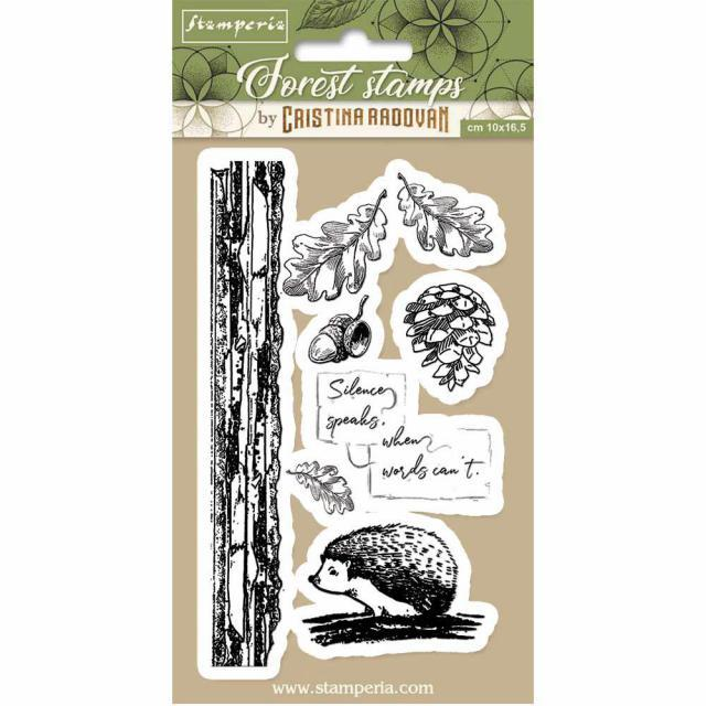 STAMPERIA  RUBBER STAMP 10CM X 16CM FOREST HEDGEHOG
