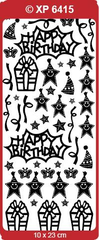CRAFT STICKER BIRTHDAY VARIOUS HOLOGRAPHIC  SILVER