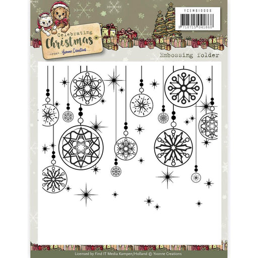 YVONNE CREATIONS EMBOSSING FOLDER CELEBRATING CHRISTMAS