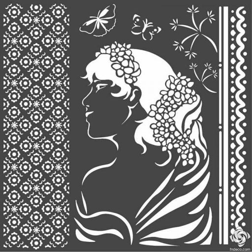 STAMPERIA STENCIL 18CM X 18CM LADY SIDE