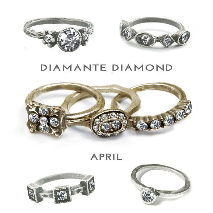 Stackable April Birthstone Ring - Diamond - Sweet Romance Wholesale
